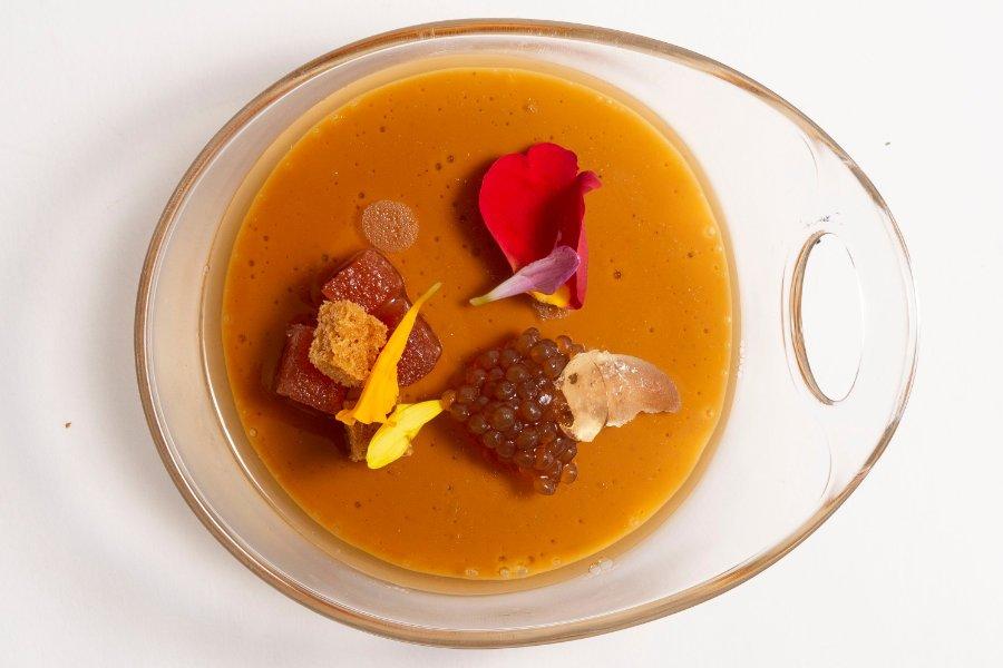 Cubalibre de Foie con gel Dry Martini, Hierbabuena y Pan de especias